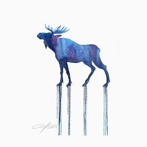 Constellation Moose, Watercolor & Pencil Blue Moose on Watercolor Paper, 2016