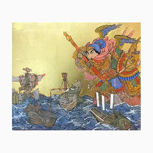 Giant at Sea, Asian Inspired Painting with Samurai, Ink, Egg-Tempera & Gold Leaf, 2019
