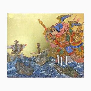 Giant at Sea, Asiatisch Inspirierte Bemalung mit Samurai, Tinte, Eier-Tempera & Blattgold, 2019