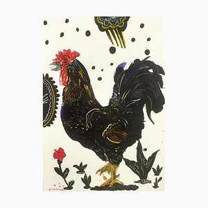 Apostolos Chantzaras, Rooster Under Cloud, 2016, Framed Oil on Fabriano Paper