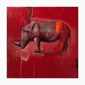 Rhino Rouge, Huile Contemporaine sur Toile, Peinture Animalière Colorée et Joueuse, 2007