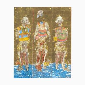 The Three Emperors, Futuristic Painting Triptych as a Byōbu-Ē, Folding Screen, 2019