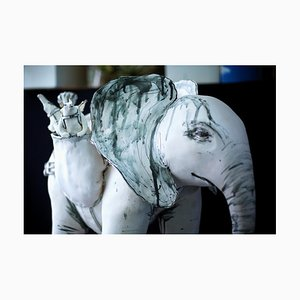 Elephant and Friends, Porcelain Freestanding Ceramic Sculpture with Animals, 2019