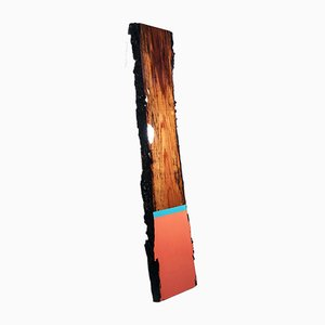 David E. Peterson, Leaner 76, Contemporary Orange & Blue Wooden Wall Sculpture, 2019