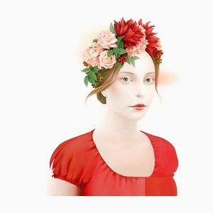 Perseveranza, acrilico su tela, realismo moderno, ritratto femminile con fiori, 2019