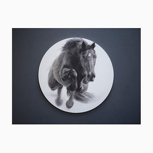 Eclipse, Jumping Horse Drawing, Charcoal, Gesso and Acrylic on Circular Board, 2019