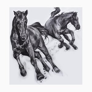 Bullet with Butterfly Wings, Dynamic Realistic Horse Drawing, Charcoal on Paper, 2019