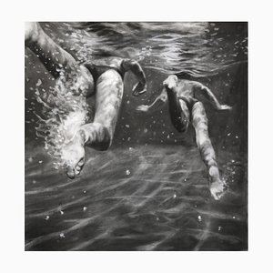 The Race, Dynamic Underwater Swimmerers, Charcoal and Graphite on Fabriano Paper, 2018