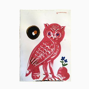 Owl 12, Red Eirene, Oil Paint on Paper, 2018