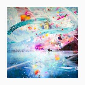 Canción de otoño, fotografía pintada a mano con resina, surfista y escena de playa, 2014