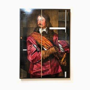 Sir John Mennes, Ritratto aristocratico con approccio moderno, Oil on Metal, 2014
