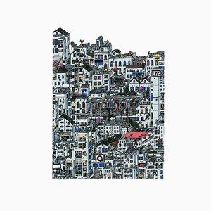Paisaje urbano inspirado en la Zeppelin en rojo de Fantastical Jungle de Guillaume Cornet, 2015