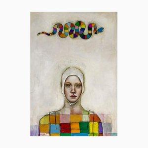 Athena, Göttin der Weisheit und Beschützer, Mikelsell, Pop Figurative Ölgemälde, 2019