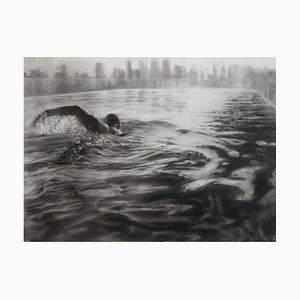 Rooftop Pool, Dynamic Realistic Charcoal on Paper of Swimmer, Water and City, 2020