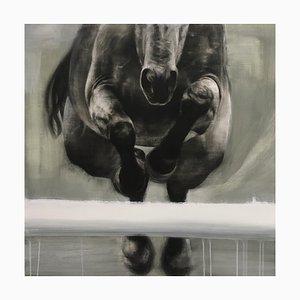 Cabeza, pintura de caballo dinámico realista con panel de madera, 2020