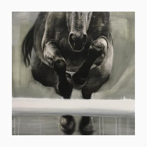 Head on, Peinture Cheval Réaliste Dynamique sur Panneau en Bois, 2020