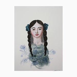 Anne Siems, Gesicht 5, Gemälde mit Portrait einer Frau, auf weißer Platte aus Ton, 2016