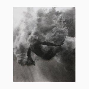 Plunge Series, Studie V, Realistische Figurative Kohle auf Papier, Unterwasser Taucher, 2020