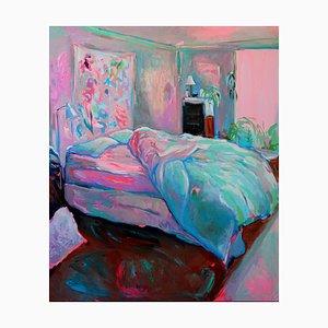 Ruheplatz, Großes Strukturiertes Ölgemälde, Pastellfarbene Palette Schlafzimmer Interior, 2019