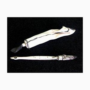 Peinture Pinceau et Tube de Peinture, Sculpture Porcelaine Noir et Blanc, 2019