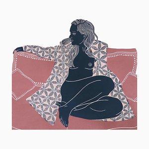 Become, Sensual Female Figurative Artwork, Linocut Original Print, Unframed, 2018