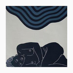 Breath, Sensual Female Figurative Artwork, Linocut Original Print, Unframed, 2018