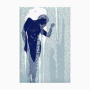 Nude Behind Shower Glass, Female Figurative Linocut Original Print, Unframed, 2018
