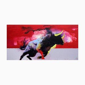 Entre Ciel Et Terre, Astratto rosso e contemporaneo, dipinto con toro, 2018