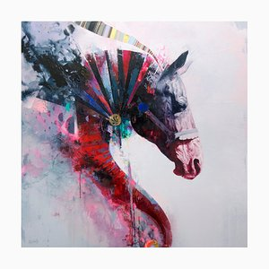 Quintessence, Contemporary Abstract Horse with Bold Colors, Layered Texture, 2019