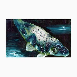 Abyss 5a, Contemporary and Classic Painting, Elegant and Strong Fish Subject, 2016