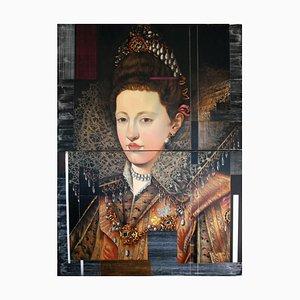 Maria Gonzaga von Lothringen, Porträt im königlichen Stil, Modernes Öl auf Metall, 2014