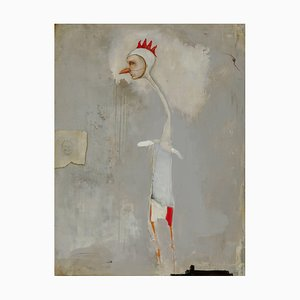 Michele Mikesell, Chicken Scratch, Oil on Wood, Abstract Figurative Painting, 2016