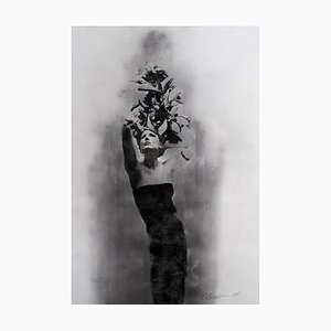 Ele, Mischtechnik Siebdruck auf Papier, Frauenportrait, 2012