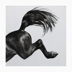 Patsy McArthur, Over the Edge, Horse Art, Charcoal, Gesso and Acrylic on Wood, 2017