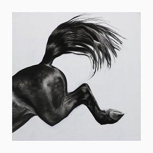 Patsy McArthur, Over the Edge, Pferdekunst, Anthrazitfarben, Gesso und Acryl auf Holz, 2017