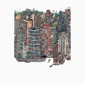 Containers Hong Kong, Fantastical Illustrated Cityscape by Guillaume Cornet, 2016
