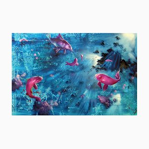 Leibniz Universe 13u, Contemporary and Colourful Underwater Scene, Öl auf Leinwand, 2016