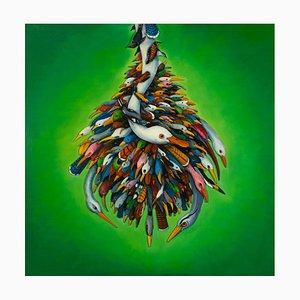 Ed Smith, Plume, 3-dimensionaler grüner abstrakter Vogel-Anstrich, Öl auf Leinwand, 2015
