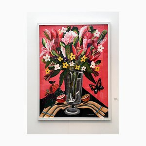 World of Abundance, Pop Art Style-Classical, Colorful Still-Life Flower Painting, 2018