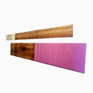 David E. Peterson, Schlankes Set 2643, Contemporary Pastel Wooden Wandskulptur, 2017