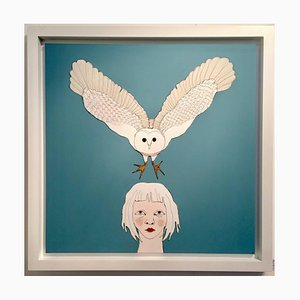 Child with Owl, Blue Wire and Oil on Canvas with White Frame, Sculptural Art, 2016