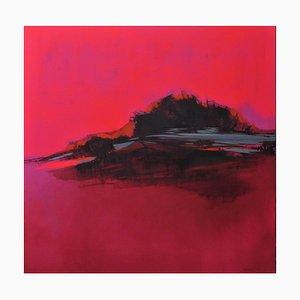Brillante rosa paesaggio, contemporaneo dinamico, luminoso astratto della pittura a olio, 2016