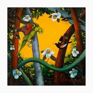 Ed Smith, Rechte des Frühlings, Buntes Öl auf Leinwand mit Vögeln und Flora, 2015