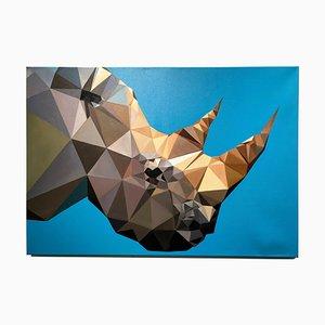 Kartel, Rhino Blues, olio su tela, Pop Art triangolare, Animal Painting, 2016