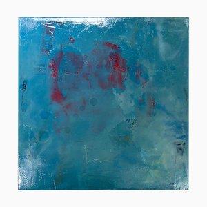 Michele Mikesells, sottomarino, olio su tela, dipinto astratto blu colorato, 2016