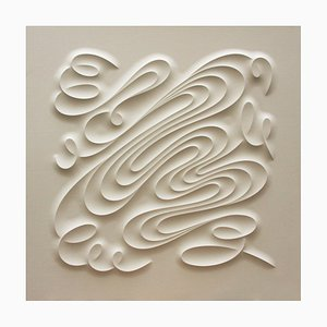 Impresión escultural curvada sobre papel Arches, blanco minimalista, 2019