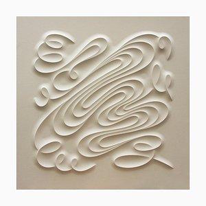 Sculpture Fid, Curvature Sculptée sur Papier Arches, Blanc Minimaliste, 2019