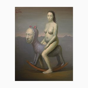 Avery Palmer, Rocking Horse Woman, Pittura ad olio con pop surrealista, 2020