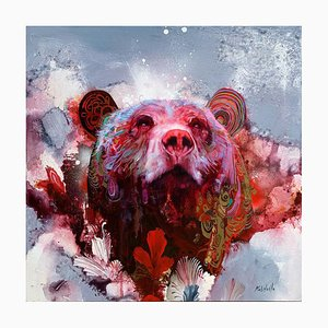 The Sound of Everything, Colorful Abstract Realism, Oil Painting with Wild Bear, 2020