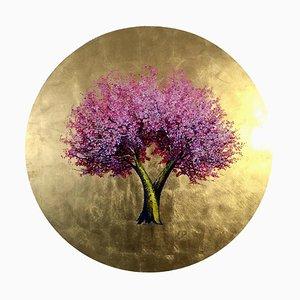 Eine neue Sonne wärmt uns, runder Öl- und Goldblatt-, zeitgenössischerrosabaum, 2020